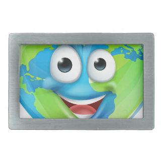 Earth Day Thumbs Up Mascot Heart Globe Cartoon Cha Rectangular Belt Buckles