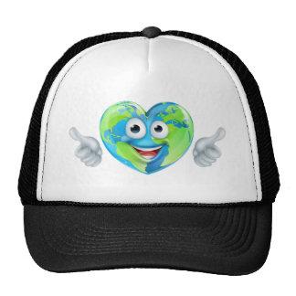 Earth Day Thumbs Up Mascot Heart Globe Cartoon Cha Trucker Hat