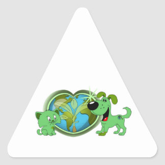 Earth Day with Leaf and Blade Triangle Sticker