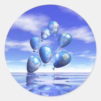 Earth Day World Balloons Round Sticker
