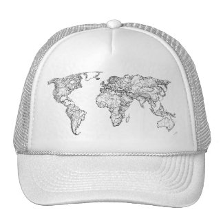 Earth drawing continents trucker hat
