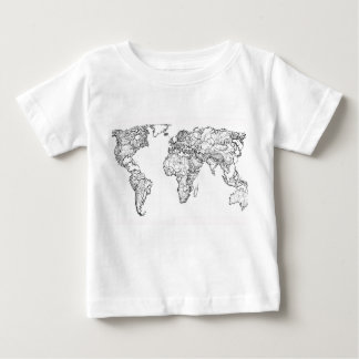 Earth drawing continents t shirt