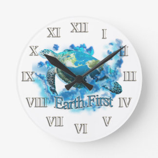 Earth First Round Clock