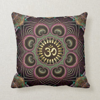 Earth Flower Fractal Energy Mandala Om Symbol Throw Pillow