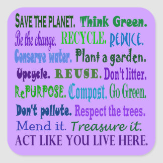 earth friendly decals square sticker