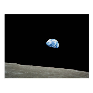 earth from moon space universe postcard