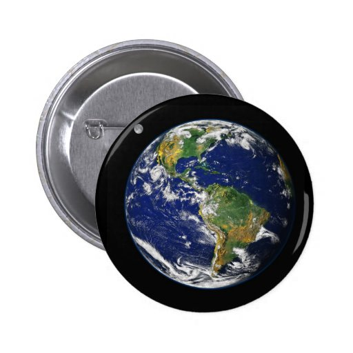 Earth from space pinback button