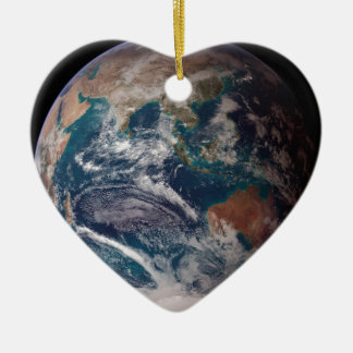 Earth From Space Ceramic Heart Ornament
