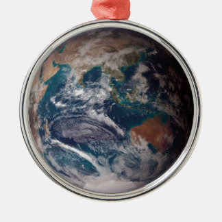 Earth From Space Silver-Colored Round Ornament