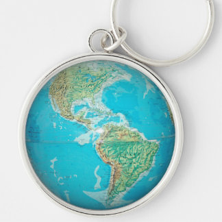 Earth Globe 2 Silver-Colored Round Keychain