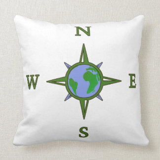 Earth Guides Explorer Travel Compass Throw Pillow