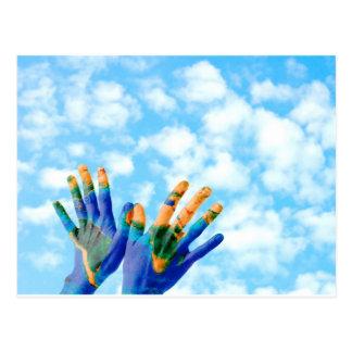 Earth hands postcard
