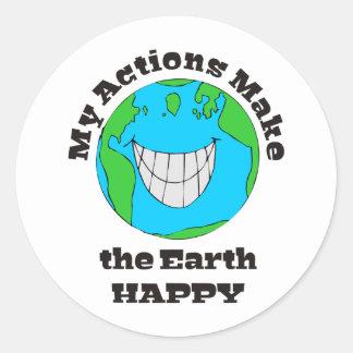Earth Happy Classic Round Sticker