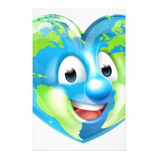 Earth Heart Globe Cartoon Character Stationery