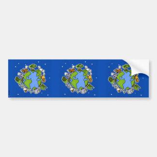 earth II scrapbook sticker dark blue Bumper Sticker