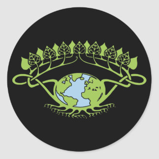 Earth in Art Nouveau Vines Classic Round Sticker