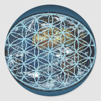 Earth in the Flower of Life - Wrapped in peace Round Sticker