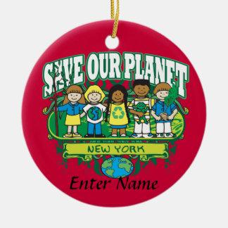 Earth Kids New York Ceramic Ornament