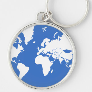 Earth / Large (5.4 cm) Premium Round Key Ring Silver-Colored Round Keychain