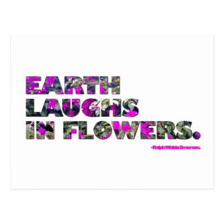 Earth laughs in flowers. Ralph Waldo Emerson quote Postcard