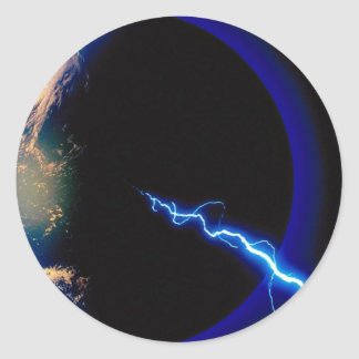 Earth, lightning strike round sticker