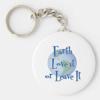 Earth Love Basic Round Button Keychain