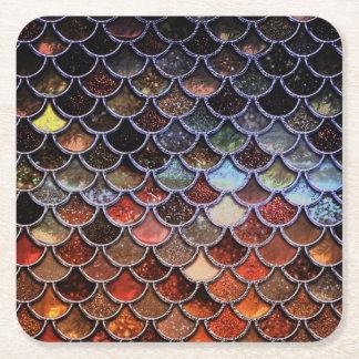 Earth Luxury Glitter Mermaid Scales Square Paper Coaster