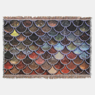 Earth Luxury Glitter Mermaid Scales Throw Blanket