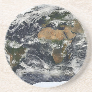 Earth map beverage coaster