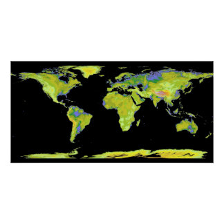 Earth Map Poster