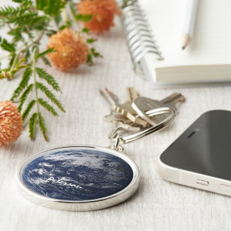 Earth monogram Silver-Colored round keychain