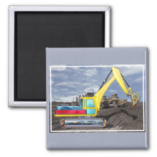 Earth Mover Moving Earth Square Magnet
