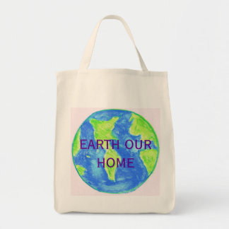 EARTH OUR HOME MARKET TOTE GROCERY TOTE BAG