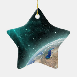 Earth Outer Space Ceramic Star Ornament