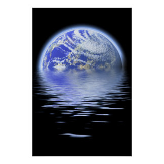 Earth Over Flooded Water Ripples Poster