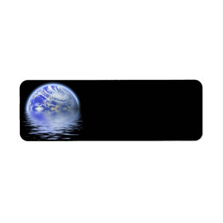 Earth Over Flooded Water Ripples Return Address Label