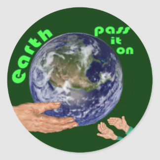 earth pass it on classic round sticker