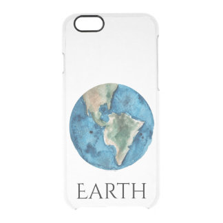 Earth Planet Watercolor Clear Case