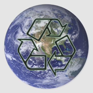 Earth Recycle Classic Round Sticker