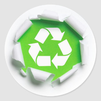 earth recycle round sticker