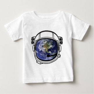 Earth reflected in space helmet t-shirt