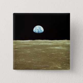 Earth rising over Moon 2 Inch Square Button