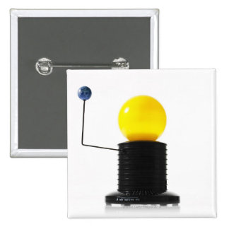 Earth rotating sun model on white background 2 inch square button