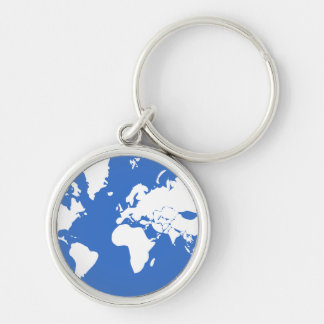Earth / Small (3.7 cm) Premium Round Key Ring Silver-Colored Round Keychain
