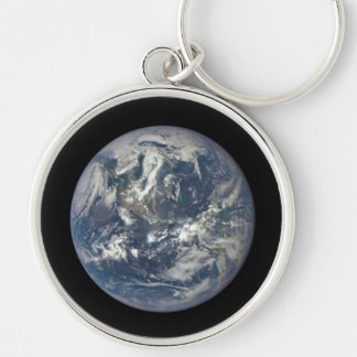 Earth, Space, America Silver-Colored Round Keychain