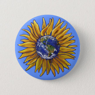 Earth Sunflower Button
