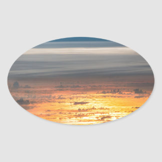 Earth sunset from the International Space Station Oval Sticker