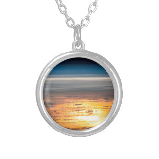 Earth sunset from the International Space Station Silver Plated Necklace