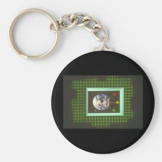 Earth through Window_Space Scenes Basic Round Button Keychain