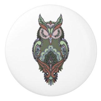 Earth Tone Owl Green Brown Coloring Book template Ceramic Knob